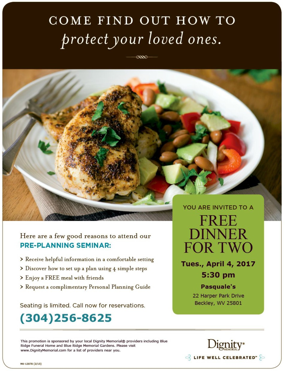 blue ridge free dinner flyer