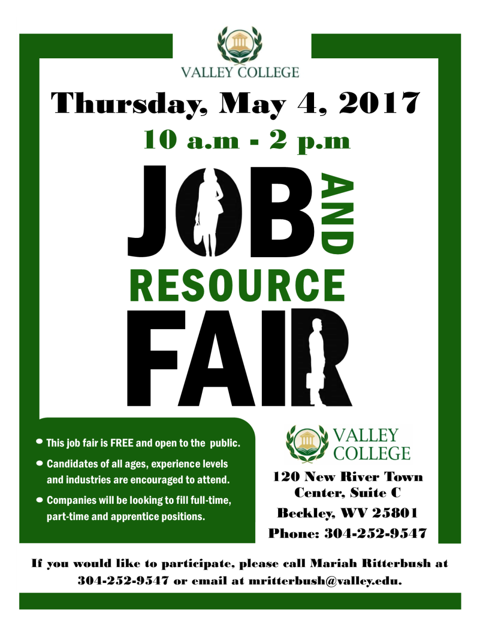 valley college Job Fair Flyer may 2017