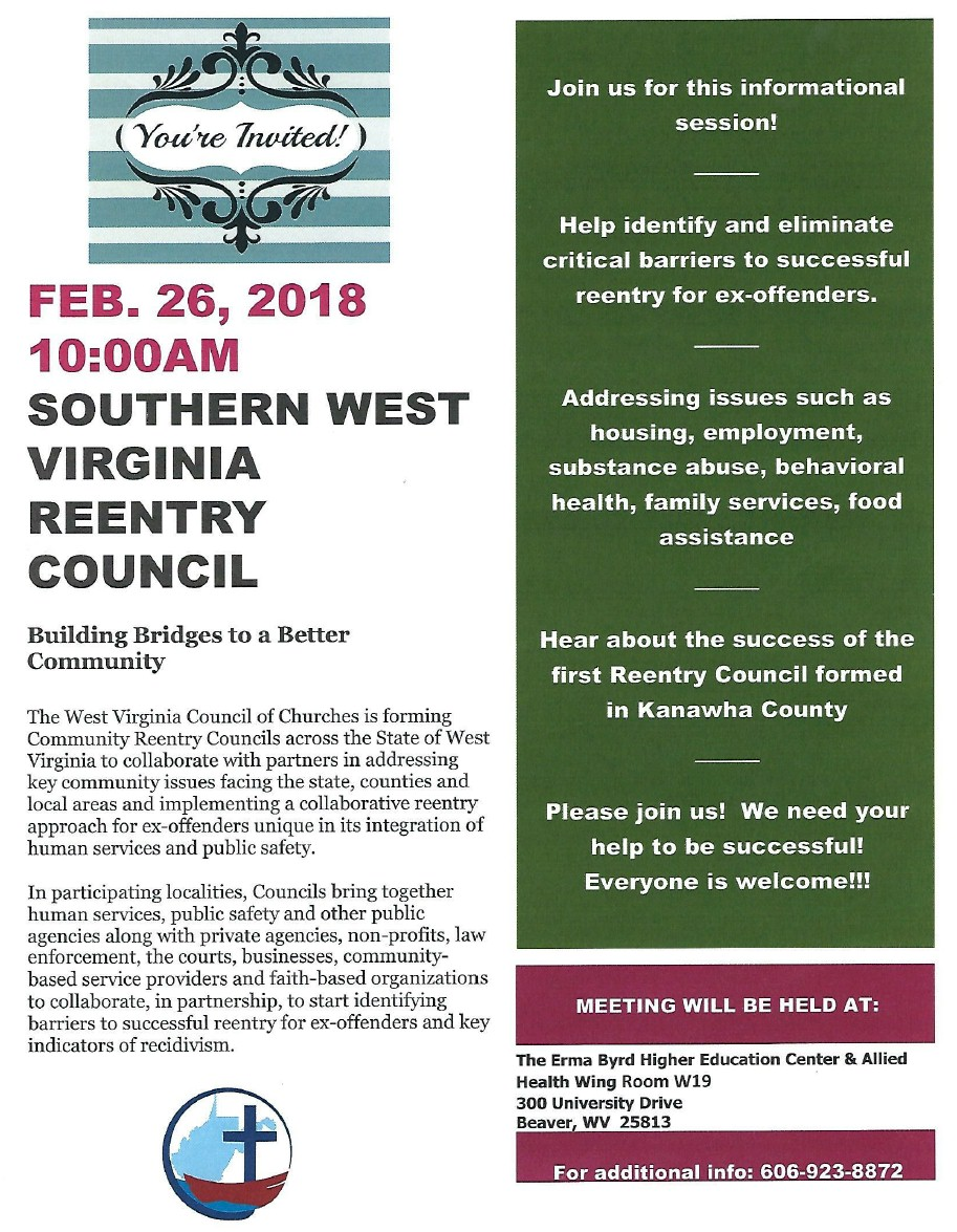 Re Entry Council feb 2018 meeting flyer